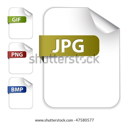 Vector set of icons for image file extensions - stock vector