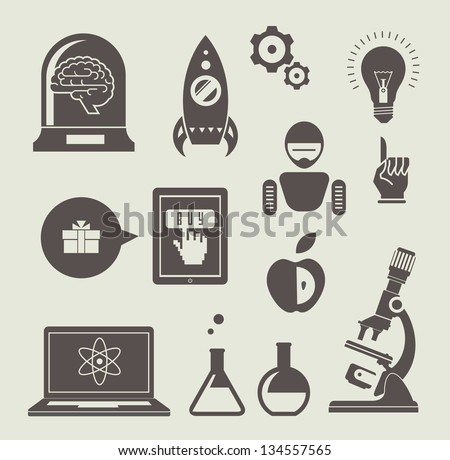 Vector set of icons for innovation and science - stock vector