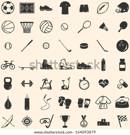 vector set of 49 icons for sports store - stock vector