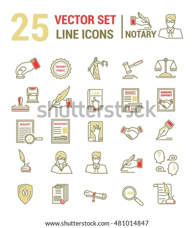 Vector set icons linear design notary stock photo photo vector vector set of icons in a linear design notary and notary office set of yelopaper Images