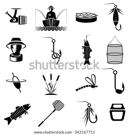vector set of icons on fishing theme - stock vector