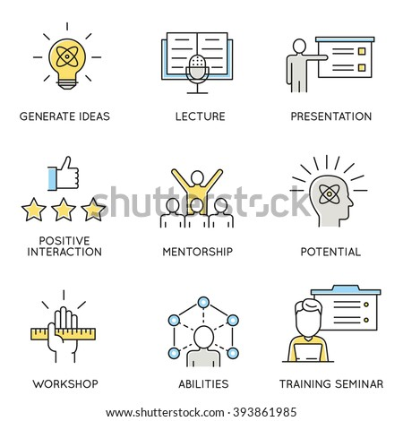 Vector set of icons related to business, corporate management, employee organization and customer relationship management. Flat line pictograms and infographics design elements - part 1  - stock vector