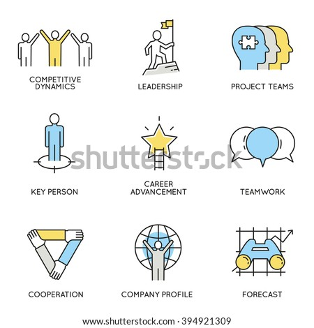 Vector set of icons related to business, corporate management, employee organization and customer relationship management. Flat line pictograms and infographics design elements - part 4 - stock vector