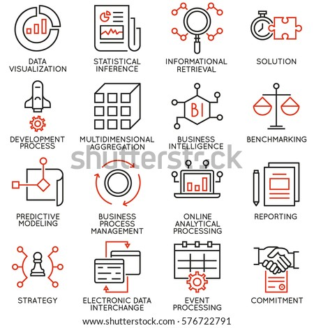 Vector set of 16 icons related to business intelligence, analytical processing and statistical inference. Mono line pictograms and infographics design elements