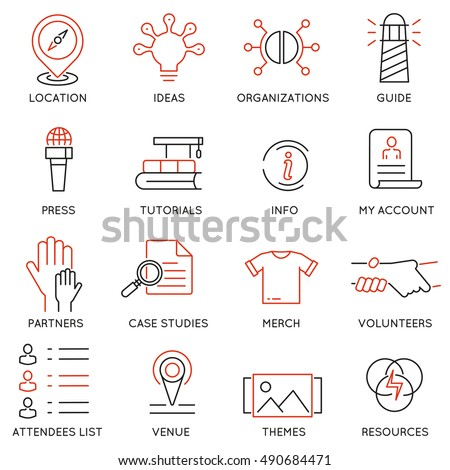 Vector set of 16 icons related to business management, marketing, maintain and service. Mono line pictograms and infographics design elements for app and web design navigation - part 3