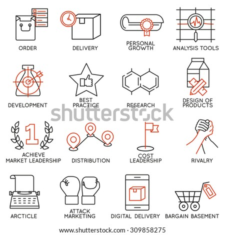 Vector set of 16 icons related to business management, strategy, career progress and business process. Mono line pictograms and infographics design elements - part 8 - stock vector