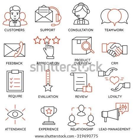 Vector set of 16 icons related to business management, strategy, career progress and business process. Mono line pictograms and infographics design elements - part 13 - stock vector