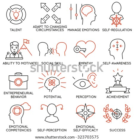 Vector set of 16 icons related to business management, strategy, career progress and business process. Mono line pictograms and infographics design elements - part 20 - stock vector