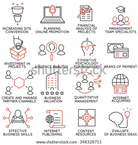 Vector set of 16 icons related to business management, strategy, career progress and business process. Mono line pictograms and infographics design elements - part 33 - stock vector