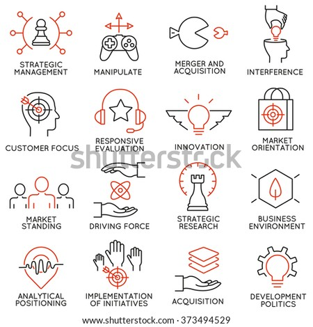Vector set of 16 icons related to business management, strategy, career progress and business process. Mono line pictograms and infographics design elements - part 40 - stock vector