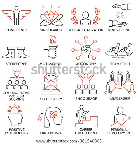 Vector set of 16 icons related to business management, strategy, career progress and business process. Mono line pictograms and infographics design elements - part 43 - stock vector