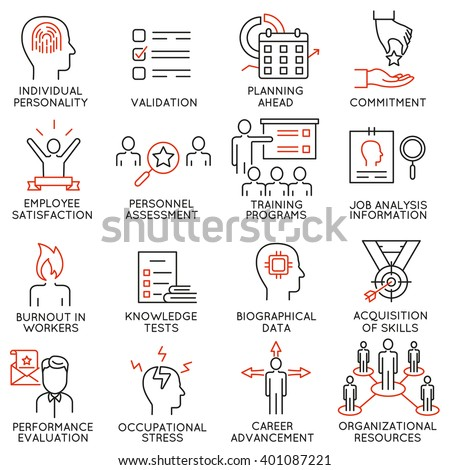 Vector set of 16 icons related to business management, strategy, career progress and business process. Mono line pictograms and infographics design elements - part 48 - stock vector