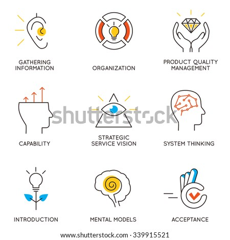 Vector set of icons related to career progress and business management. Infographics design elements - part 6 - stock vector
