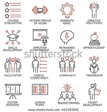 Vector set of 16 icons related to career progress, workshop, professional consulting service, training and development. Mono line pictograms and infographics design elements - part 2