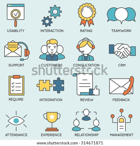 Vector Set Of Icons Related To Customer Relationship Management Flat Line Pictograms And Infographics Design