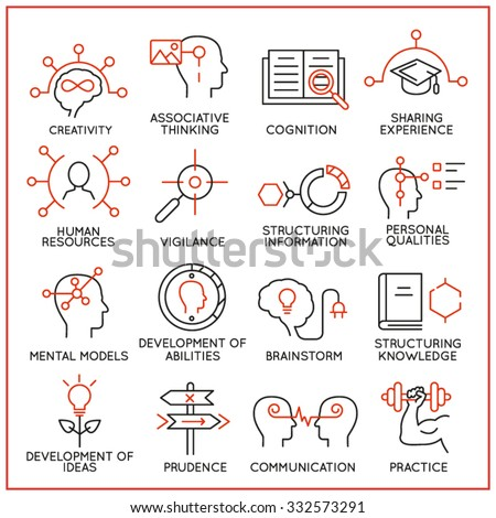 Vector set of 16 icons related to human resource management, mental process and useful abilities. Mono line pictograms and infographics design elements - part 1 - stock vector