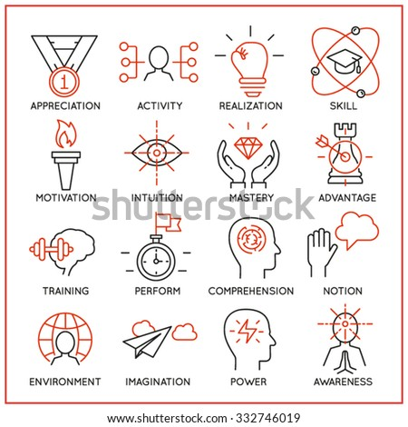 Vector set of 16 icons related to human resource management, mental process and useful abilities. Mono line pictograms and infographics design elements - part 2 - stock vector