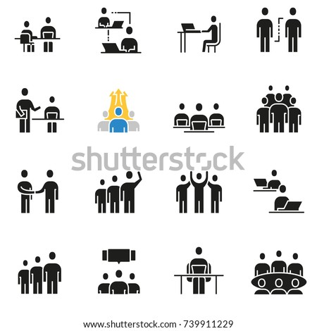Vector set of icons related to team work, human resources, business interaction and relationship - part 2