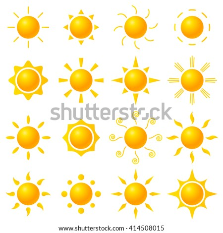 Vector set of icons with sun - stock vector