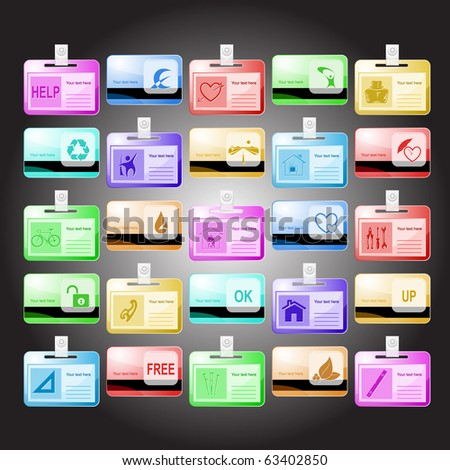 Vector set of id cards. 25 elements. - stock vector