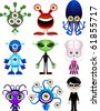 Vector set of illustrated, extra terrestrial characters - stock vector
