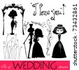 vector set of illustrated wedding elements - stock vector