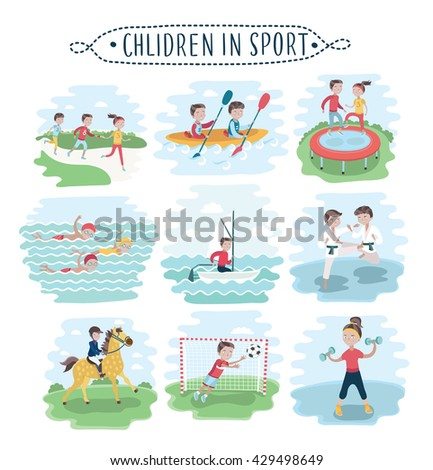 Vector set of illustration of kids playing various sports on white - stock vector