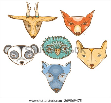 Vector set of illustration with cute baby animals: owl, wolf, panda, coyote, deer, fox. eps 10