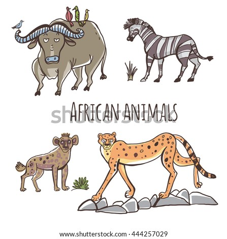 Vector set of illustrations. Animals Africa in cartoon style. Isolated on white background.