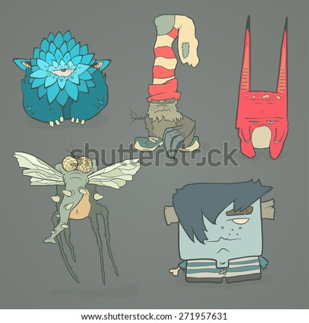 Vector set of illustrations cartoon cute monsters or aliens with claws and fangs. Hand drawing cartoons. The concept of the character on a uniform background. - stock vector