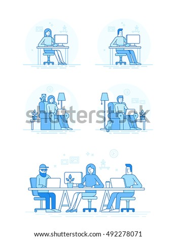 Vector set of illustrations in trendy flat linear style and blue colors - coworking space with creative team sitting at the desk with computers and laptops working -  infographic design elements