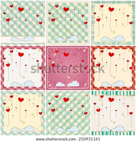 Vector set of illustrations of cute heart shaped balloons flying in the air - stock vector