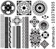 Vector set of illustrations with symbols and ornaments in black and white - stock vector