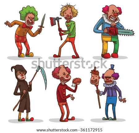 Vector set of images of evil clowns with a different hair color in colored clothes with different cold weapons in the hands on a light background. In the theme of Halloween. Vector illustration. - stock vector