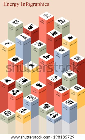 Vector set of infographic elements consisting of bar diagrams and icons, concerning to power and energy themes - stock vector