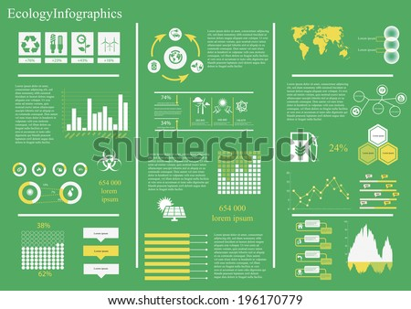 Vector set of infographic elements, including 27 icons, world map, 8 types of diagram diagram concerning to ecology,energy and sustainable development themes - stock vector