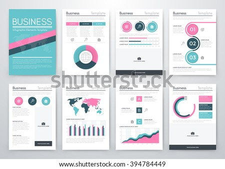 Vector set of infographics business. Template for business style, brochures, web site - stock vector