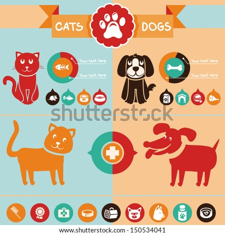Vector set of infographics design elements - dogs and cats in flat style - stock vector