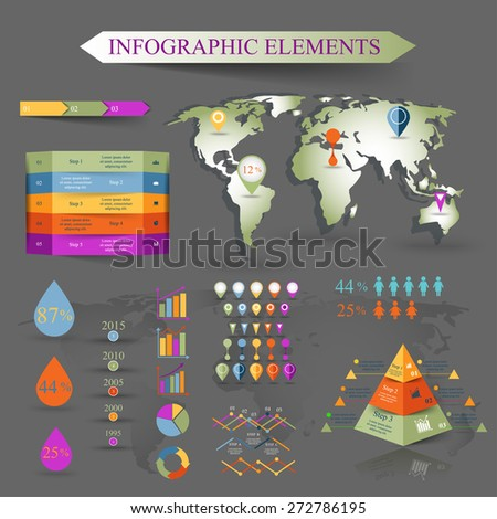 Vector set of infographics elements with map