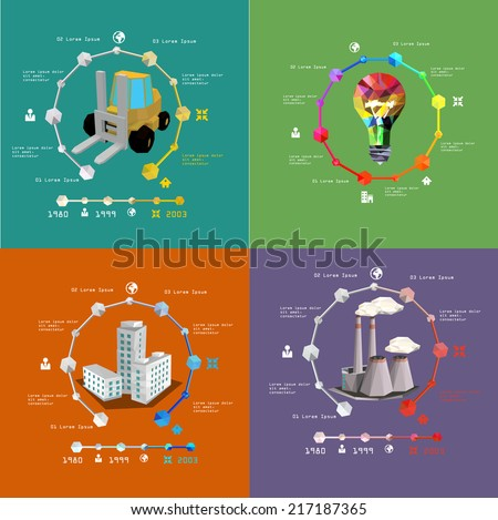 vector set of infographics of power generation and industry - stock vector