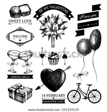Vector set of ink hand drawn valentine's day illustration. Vintage valentine's collection with hand drawn blooming fruit tree twigs isolated on white - stock vector