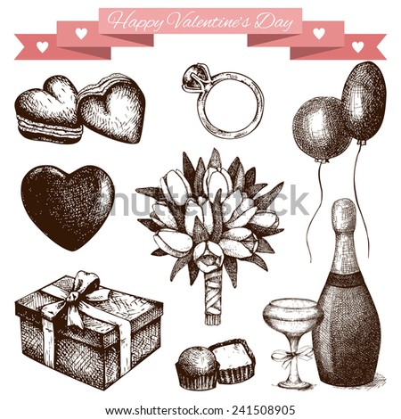 Vector set of ink hand drawn valentine's day illustration. Vintage valentine's day collection isolated on white - stock vector