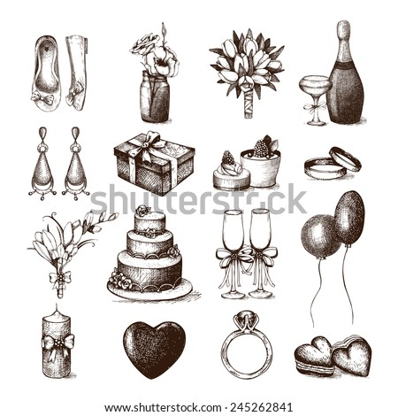 Vector set of ink hand drawn wedding illustration. Vintage wedding collection isolated on white - stock vector