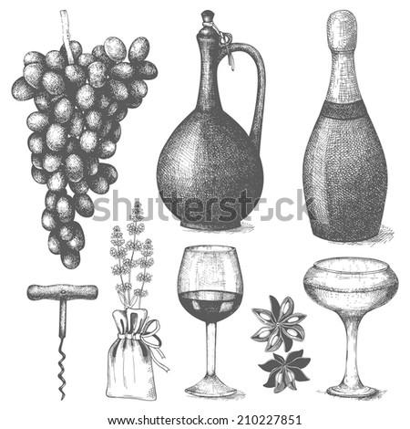 Vector set of  ink hand drawn wine illustration isolated on white background for menu or restaurant design. - stock vector