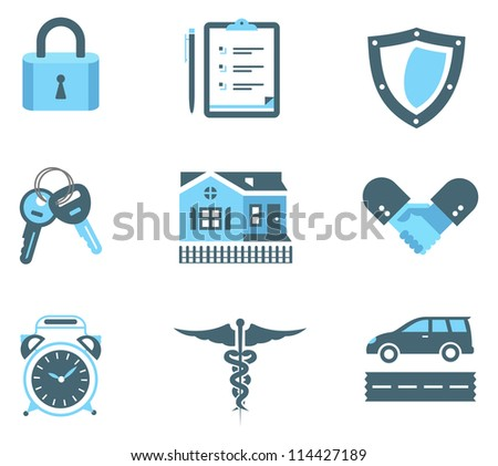 Vector set of insurance icons - stock vector