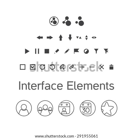 Vector set of interface elements, ui kit icons, pictograms for application - stock vector