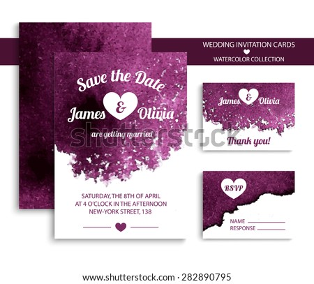 Vector set of invitation cards with watercolor elements in bright violet color. Watercolor wedding collection. Invitation templates. Vector illustration EPS10. - stock vector