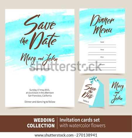 Vector set of invitation cards with watercolor elements. Wedding collection of template: Save the Date, Dinner Menu - stock vector