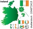 Vector set of Ireland country with flags, buttons and clover on white background - stock photo