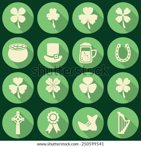 vector set of irish St. Patrick's Day icons - stock vector